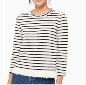 Kate Spade stripe fringe knit top